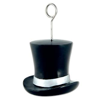 Balloon Weight/Photo Holder Top Hat Black And Silver