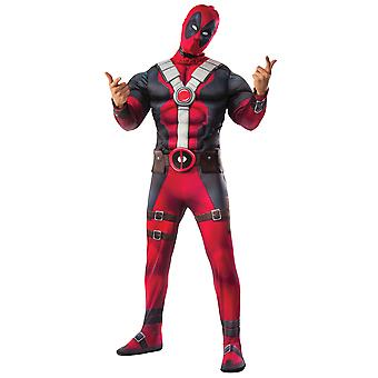 Deadpool Marvel Wade Wilson Deluxe Muscle brystet Superhero Teen Mens drakt