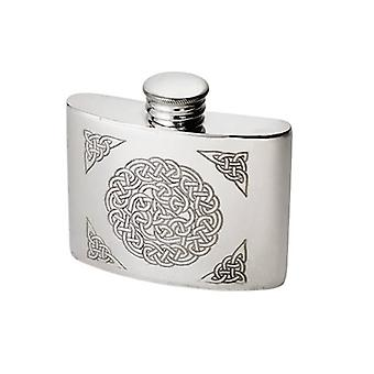 Celtic Knot Embossed Pewter Kidney Flask - 2oz