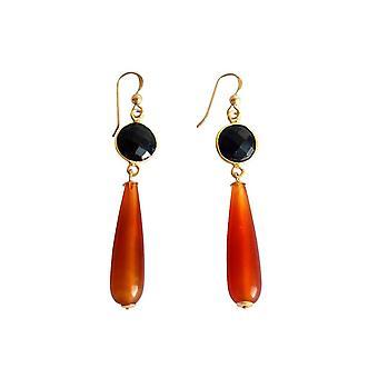 Gemshine korva korut kulta kullattu Carnelian Onyx oranssi musta puolue DROPS