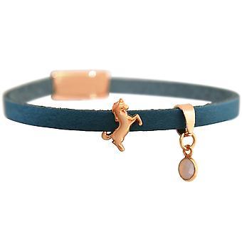 GEMSHINE blauw lederen armband Unicorn goud vergulde Rose, zilveren Rozenkwarts meisje