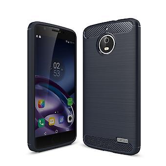 Motorola Moto E4 TPU case carbon fiberoptik børstet beskyttende tilfælde blå
