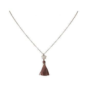 قلادة نسائية - قلادة - 925 فضية - زهرة اللوتس - شرابة - وردة - يوجا - 4 سم