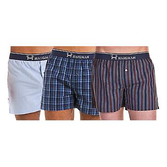 Haigman Mens Woven Cotton Boxer Shorts Underwear (Pack of 3)