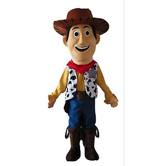 mascot SPOTSOUND of Woody, famous Toy Story cowboy