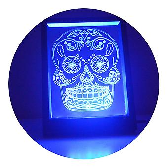 Day of the Dead Cheeky Candy Skull Changing RC LED Mirror Light Frame