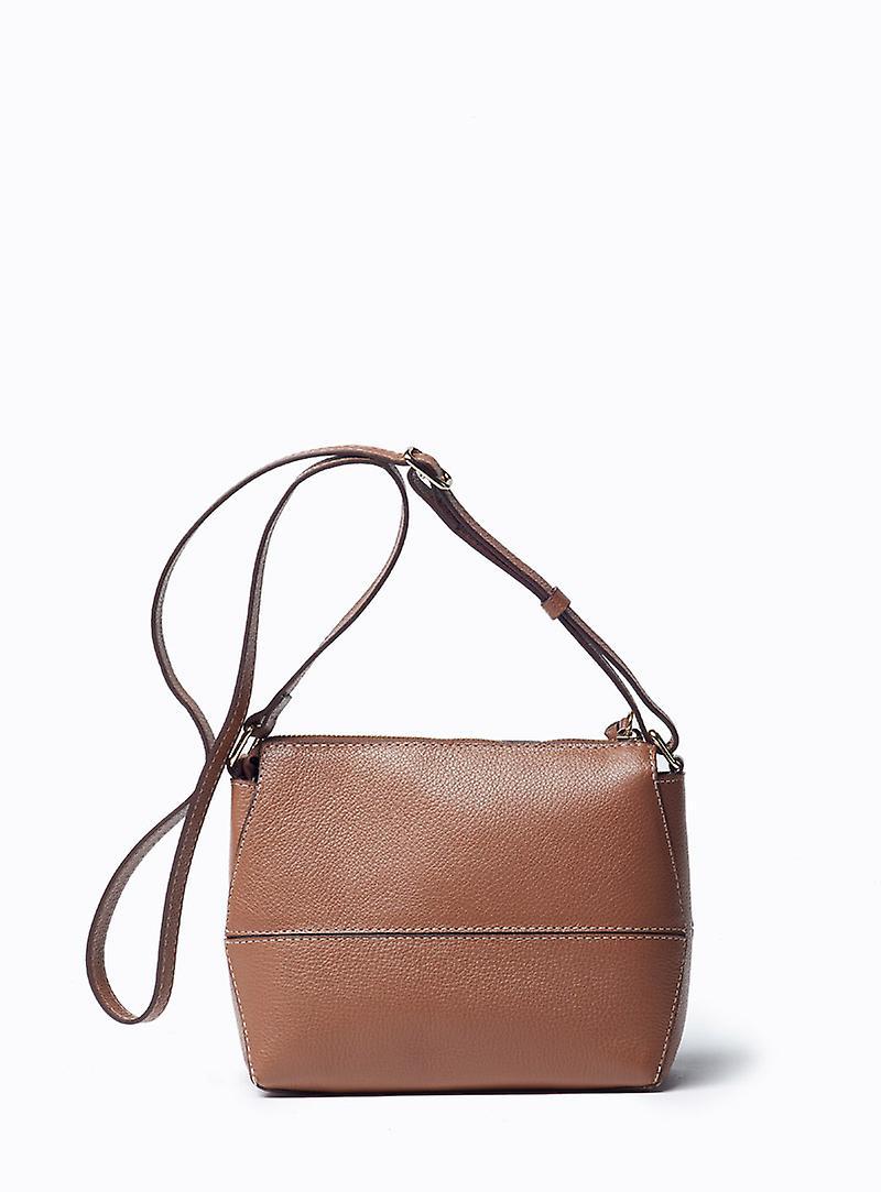 Viver Leather Crossbody Bag Sky Brown