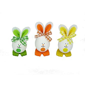 TRIXES Pack of 3 Easter Egg Bunny Decorations Green/Orange/Yellow