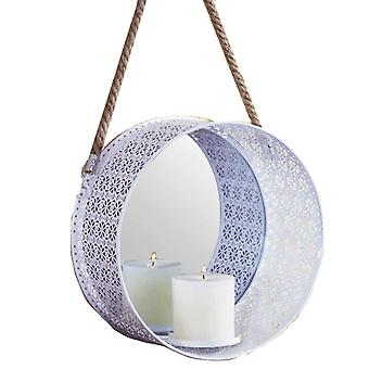 Lampett Wall lantern for block candles with mirror white 28cm