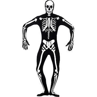 Skeleton Glow in the Dark Second Skin Costume, Chest 34