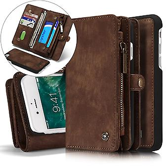 CASEME iPhone 8/7/SE Retro Split Leather Wallet Case - Brown
