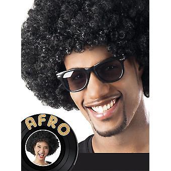 Mens Black parrucca Afro 1970s costume accessorio