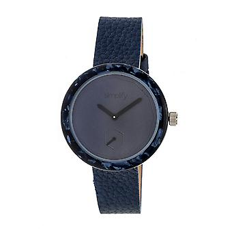 Simplify The 3700 Leather-Band Watch - Navy