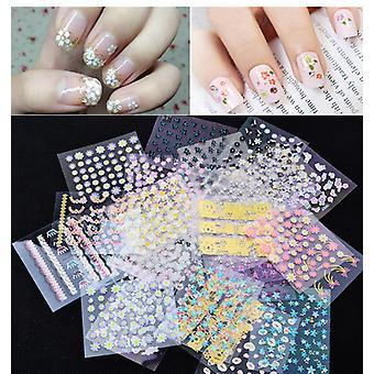 10 pezzi di fiori di lamiera autoadesivo decorazioni per unghie colorate