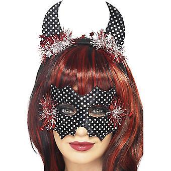 Maska ďábel a rohy, černá, stříbrná a červená