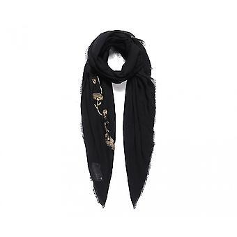 Intrigue Womens/dames métallisé floral brodé carré foulard