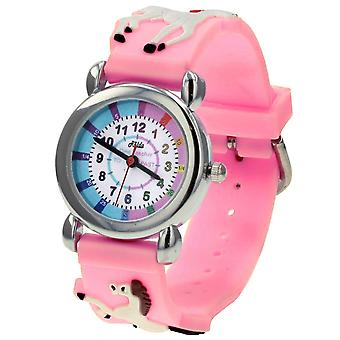 Relda Girl's-Children Time Teacher 3D White Horse Silicone Strap Watch + Telling The Time Award