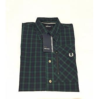 Fred Perry masculina Zip bolso Lamont Tartan camisa de manga longa - M7378