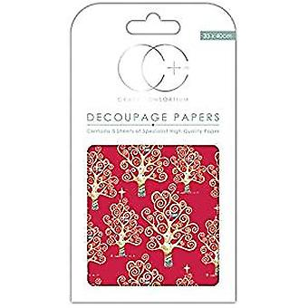 "Craft Consortium Decoupage Papers 13.75""X15.75"" 3/Pkg-Red Tree"