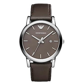 Armani Brown Dial Steel Case Brown Leather Strap Mens Watch Ar1729