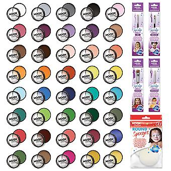 Moon Creations - Pro Face & Body Paint Cake Pots - 40 Colour Professional Kit (40 colours / 4 Brushes / Sponge)