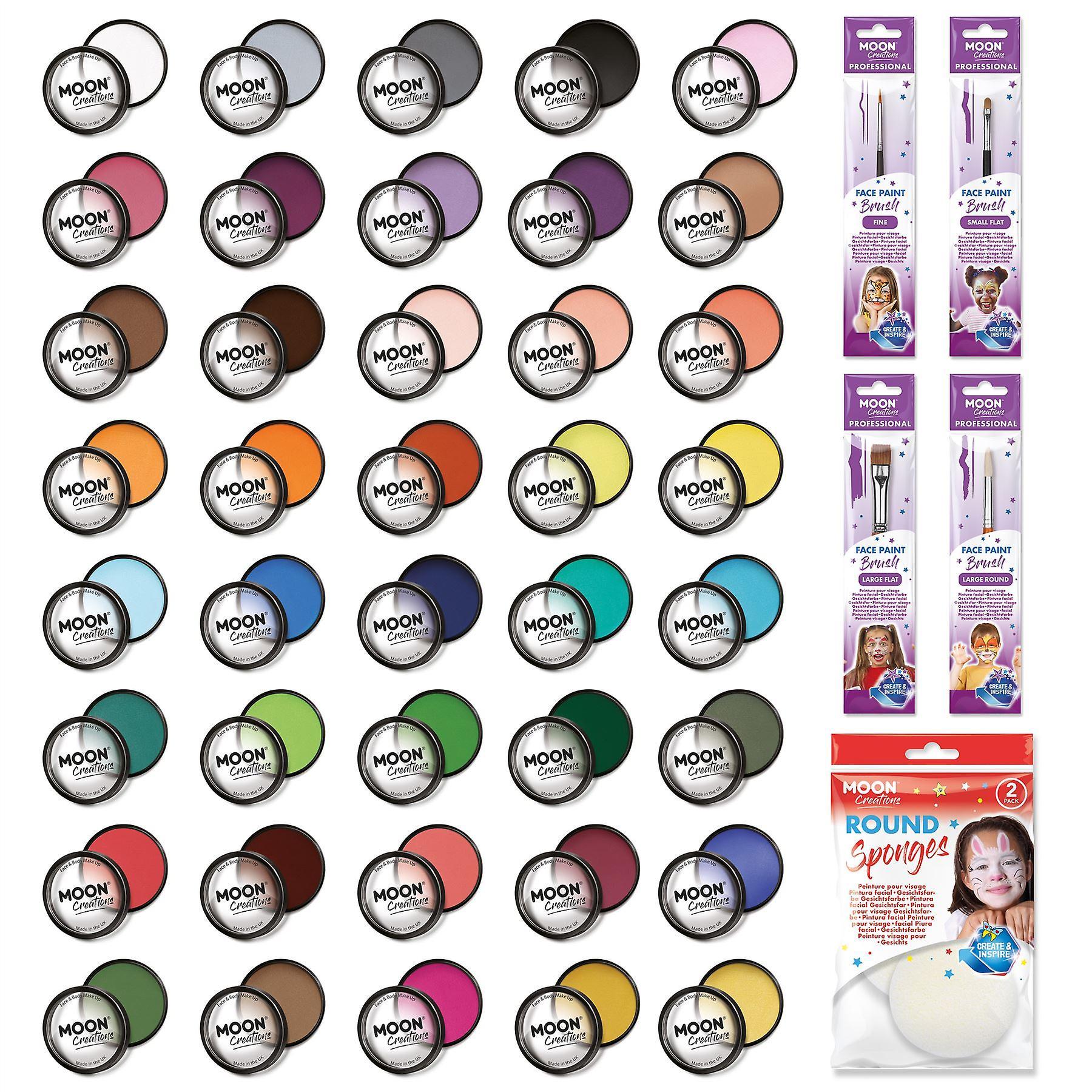Moon Creations - Pro Face & Body Paint Cake Pots - 40 Colour Professional Kit (40 colours / 4 Brushes / Sponge)