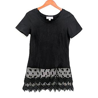 Kathleen Kirkwood Women's Top Short Sleeve w/ Lace Hem Black A307345