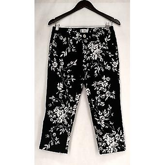 OSO Casuals Button And Zipper Front Floral Print Jeans Black Womens