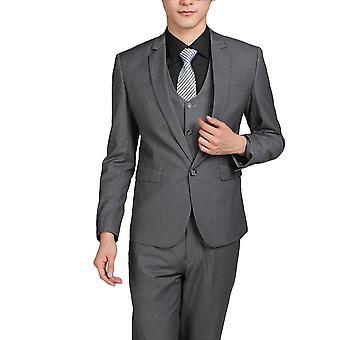 Allthemen män ' s 3-Piece passar solid Grey Business blazer & Vest & byxor