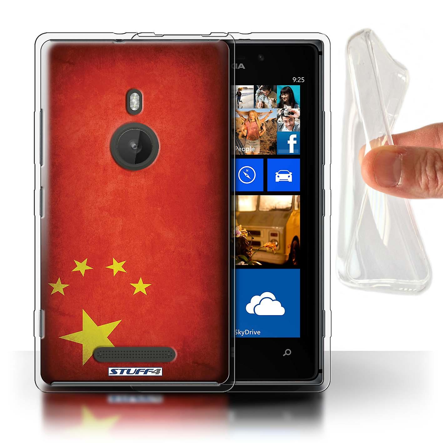 STUFF4 Gel TPU Case/Cover for Nokia Lumia 925/China/Chinese/Flags