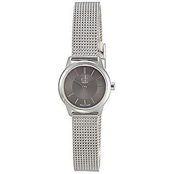 Calvin Klein Minimal Quartz Black Dial Zilver Rvs Mesh Armband Dames Horloge K3M23124