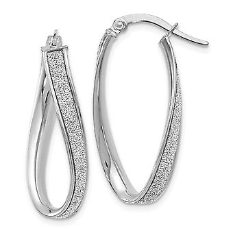 14k White Gold Hinged post Polished Glitter Infused Oval Hoop Earrings Jewelry Gifts for Women