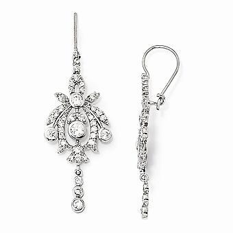 925 Sterling Silver Bungelen Nierdraad Rhodium verguld CZ Cubic Zirconia Gesimuleerde Diamond Kroonluchter Franse Wire Earring
