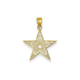14k oro amarillo pulido filigrana colgante estrella - gramos.7