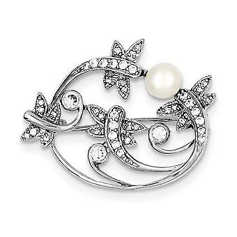 925 Sterling Zilver gepolijst gesimuleerde Parel en Cubic Zirconia Pin Sieraden Geschenken voor vrouwen