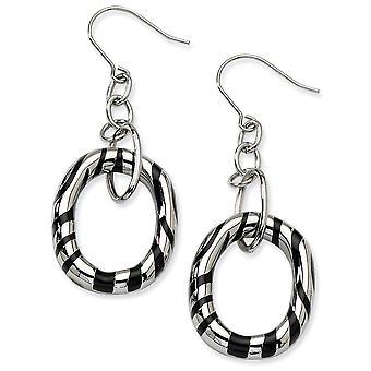 Stainless Steel Polished Shepherd hook Black Resin Striped Oval Long Drop Dangle Earrings Jewelry Gifts for Women