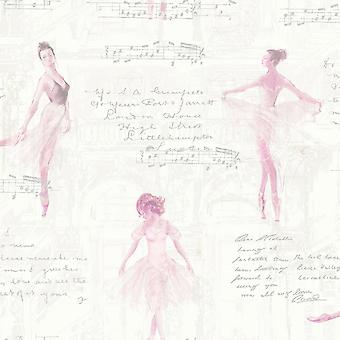 Pirouette ballet ballerina tapet pink Arthouse 668200