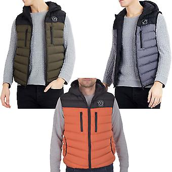 Brave Soul Mens Derby Soft Padded Luxury Hooded Quilted Gilet Jacket Coat