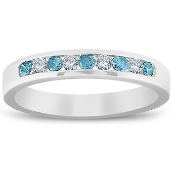 1 / 4ct blauw & wit Diamond Wedding Ring 14K White Gold