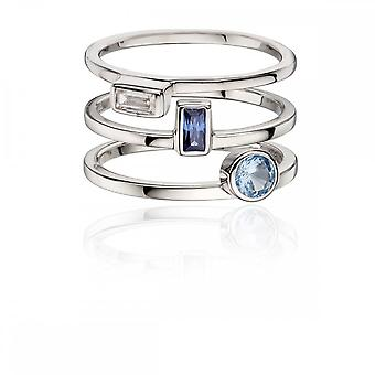 Fiorelli Silver Ring Pack Navy Blue Cubic Zirconia Ring R3565