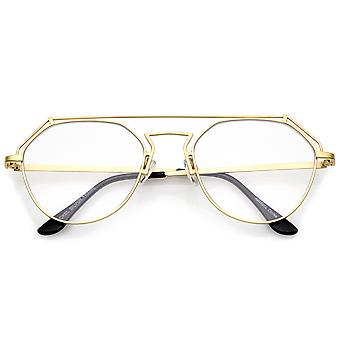 Modern Matte Metal Frame Open Metal Clear Flat Lens Aviator Eyeglasses 50mm