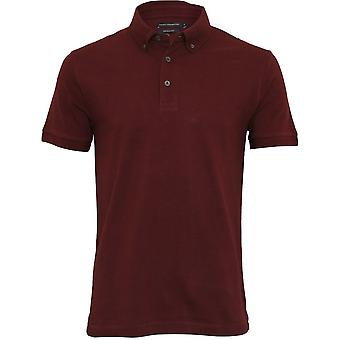 French Connection Textured Pique Polo Shirt, Bordeaux