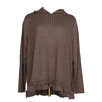 Anybody Women's Sweater Hacci Ruffle Hem Hoodie Beige A349803