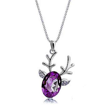18k white-gold plated reindeer necklace