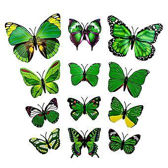 13. Zielone dekoracyjne motyle 3D w papierze do ścian