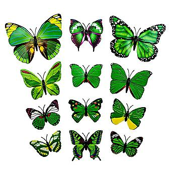 13pcs Green Decorative 3D Butterflies in Paper for Walls