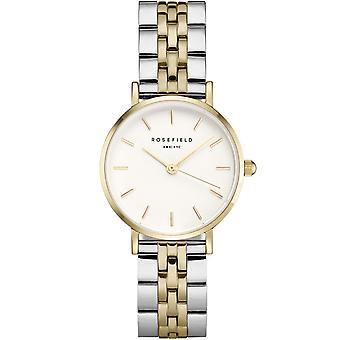 Rosefield horloge 26SGD-269-Bo tier m tal dor briljante gouden wijzerplaat wit Two-Tone stalen armband dor vrouwen