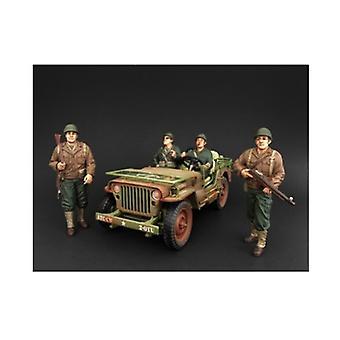 US Army WWII 4 Stück Figur Set für 1:18 Maßstab Modelle von amerikanischen Diorama