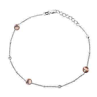 925 Sterling Silver Rose and White Plated Anklet With Rg Plate Beads And Cubic Zirconia 10 Inch Jewelry Gifts for Women