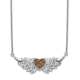 925 στερλίνα ασημένια σμάλτο Crystal αγάπη καρδιά με άγγελος φτερά κολιέ 18 ιντσών κοσμήματα δώρα για τις γυναίκες
